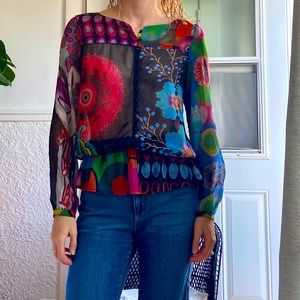 Desigual floral abstract multicolour blouse